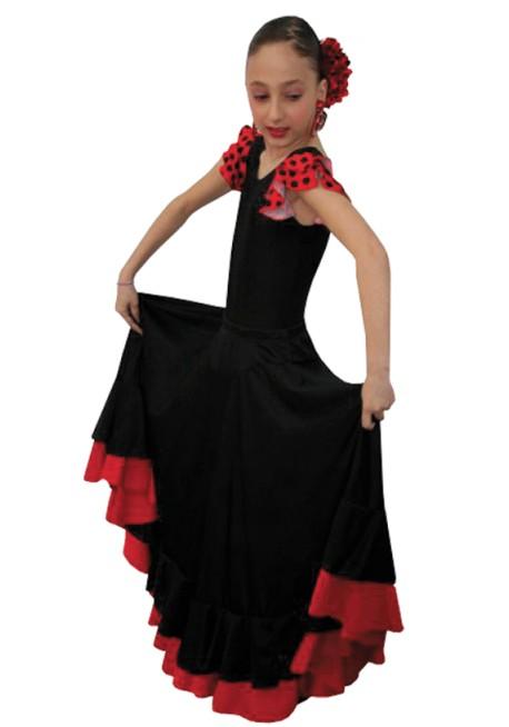 Falda Flamenco confeccionado en lycra elasticada con 2 volantes