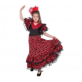 Vestido Flamenco confeccionado en lycra elasticada con 2 volantes y encaje. Bodi aparte