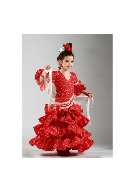 Vestido Flamenco Sevillano confeccionado en Trevira, Popelina, Lycra, Cochivo, con 4 volantes grandes plato